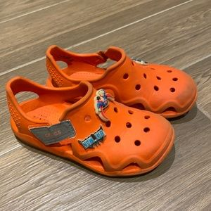 Crocs boys orange with super hero size 13